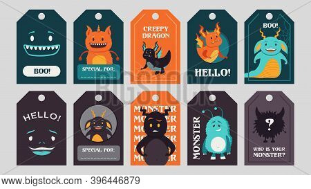 Trendy Tags Design With Funny Monsters. Bright Creepy Elements Or Creatures With Greeting Text And B
