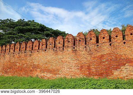 Unique Cross Shaped Hole On The Historic Brick Wall Of Nan Old City, Muang Nan District, Nan Provinc