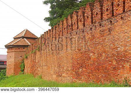 The Historic Brick Wall And Tower Of Nan Old City, Muang Nan District, Nan Province, Historical Plac