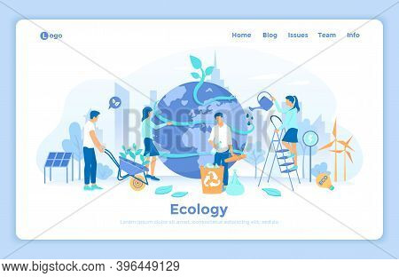 Ecology, Green Eco City Planet, Eco-friendly Ideas. Bio Technology. People Take Care About Planet Ec