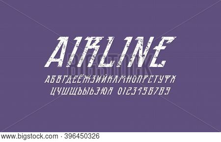 Cyrillic Oblique Sans Serif Font In Futuristic Style. Letters And Numbers With Vintage Texture For S