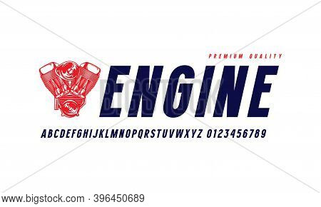 Oblique Sans Serif Font In Classic Style. Letters And Numbers For Logo And Label Design. Isolated On