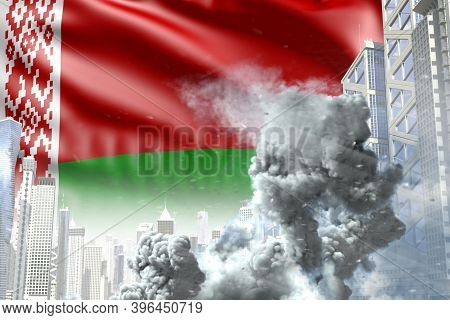 Big Smoke Pillar In Abstract City - Concept Of Industrial Blast Or Act Of Terror On Belarus Flag Bac