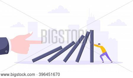Domino Effect Or Business Resilience Metaphor Vector Illustration. Adult Young Man Pushing Falling D