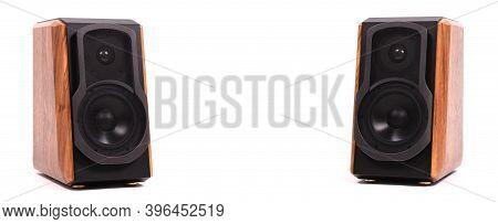 Isolated Wooden Speakers, Modern Bluetooth Speaker On White