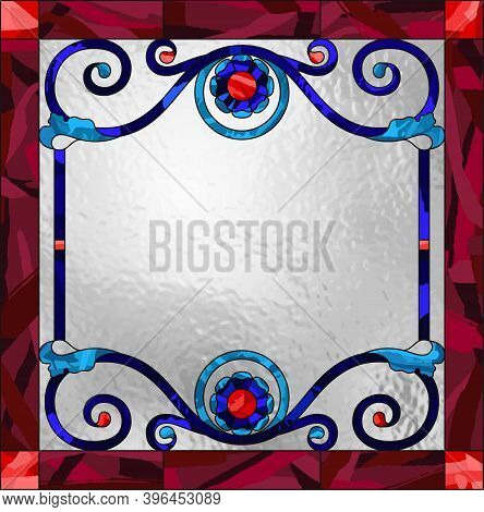 Ceiling Panels Stained Glass Window. Abstract Flower, Swirls And Leaves In Square Frame, Geometric O
