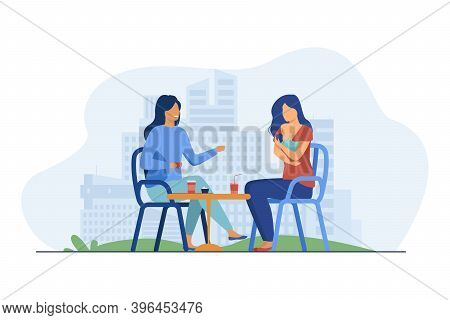 Cheerful Women Sitting In Cafe With Newborn. Baby, Mother, Breast Flat Illustration. Motherhood And