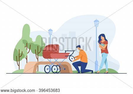 Man Repairing Pram And Woman Feeding Baby. Wheel, Park, Newborn Flat Vector Illustration. Motherhood