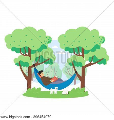 Summer Bbq Scene. Man Lying In Hammock And Reading Book In The Park, Flat Vector Illustration.