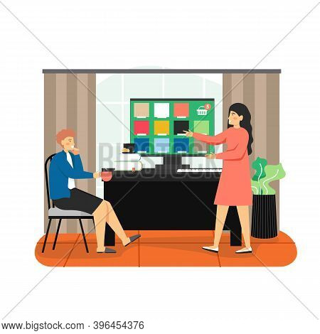 Man Choosing Wall Paint Color For Home Decoration, Apartment Renovation, Flat Vector Illustration. H