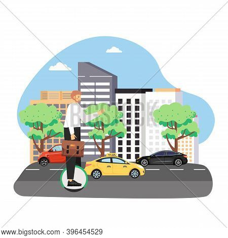 Businessman With Briefcase Commuting To Work On Monocycle, Flat Vector Illustration. Eco Friendly Ci