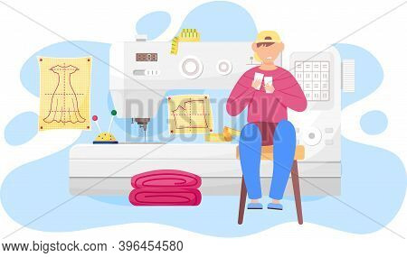 Happy Man Fashion Designer Is Making A Model, Sitting Near The Sewing Machine With Pink Cloth And Lo
