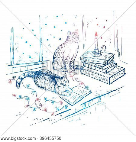 Christmas Hand Drawn Sketch Vector White Background With Books, Cats, Candle And Garland. Cats Are S