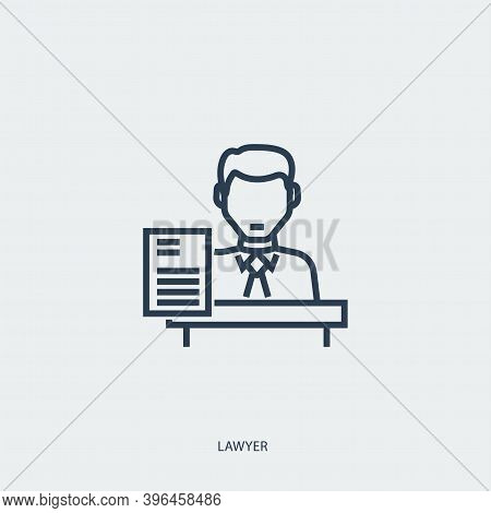 Vector Outline Icon Of Legal Proceedings - Lawyer