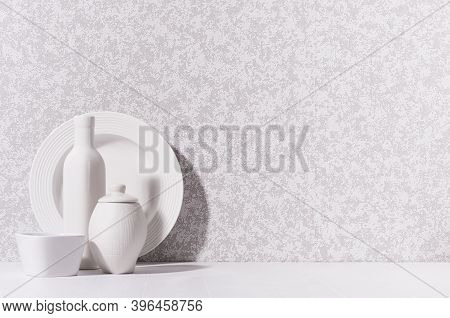 Simple Minimalist Home Interior With White Ceramic Crockery - Plate, Bowl, Pot, Vase In Morning Sunl