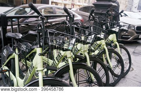 Saint Petersburg, Russia - October 5, 2020: Bicycle Rental In The Center Of Saint Petersburg. Transp