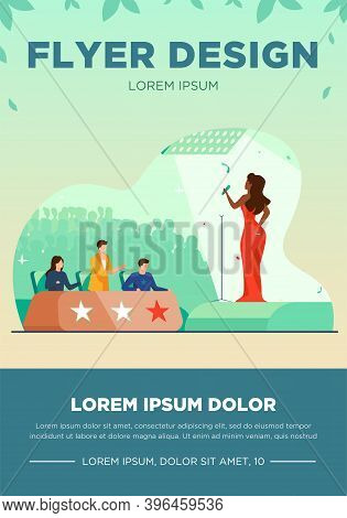 Female Celebrity Woman Signing In Front Of Jury Flat Vector Illustration. Young Singer Standing On S