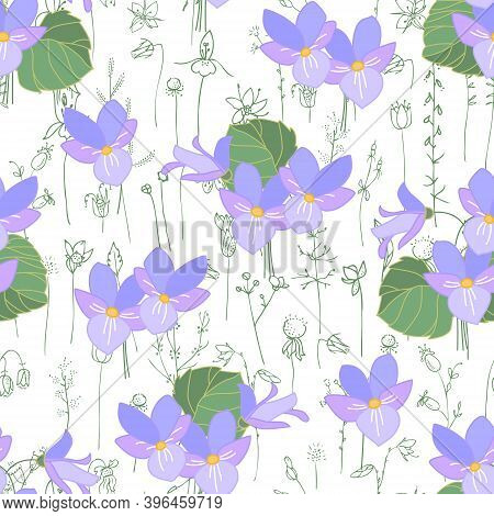 Seamless Season Pattern With Viola. Endless Texture For Floral Summer Design