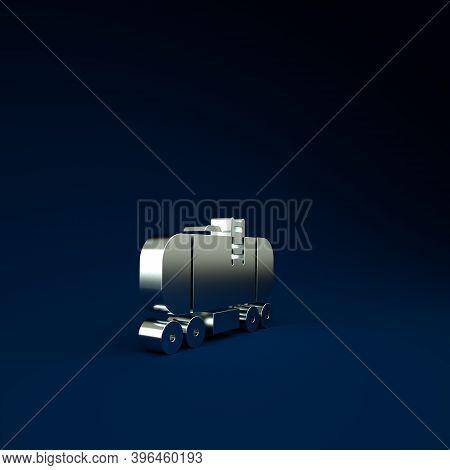 Silver Oil Railway Cistern Icon Isolated On Blue Background. Train Oil Tank On Railway Car. Rail Fre