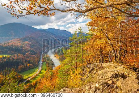 Autumn Landscape With The Vah River. The Mala Fatra National Park, Slovakia, Europe.