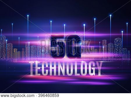 5G conceptual information technologies background illustration with stylized city
