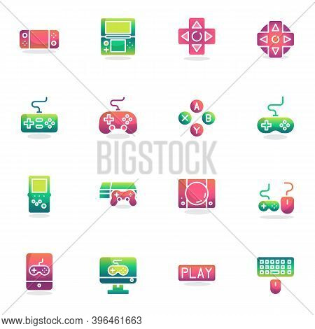 Video Game Elements Collection, Flat Icons Set, Colorful Symbols Pack Contains - Handheld Game Conso