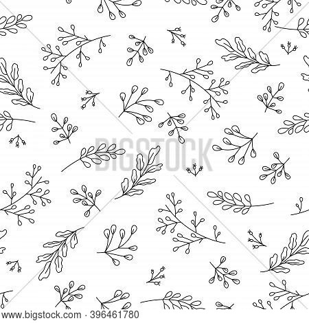 Hand Drawn Vector Seamless Pattern With Floral Elements. Vector Pattern With Leaves, Twigs, Branches