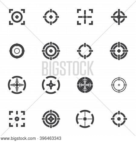 Target And Crosshair Vector Icons Set, Modern Solid Symbol Collection, Filled Style Pictogram Pack.