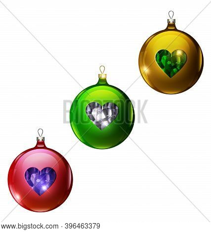 Vector Christmas Red, Green And Yellow Balls With Heart