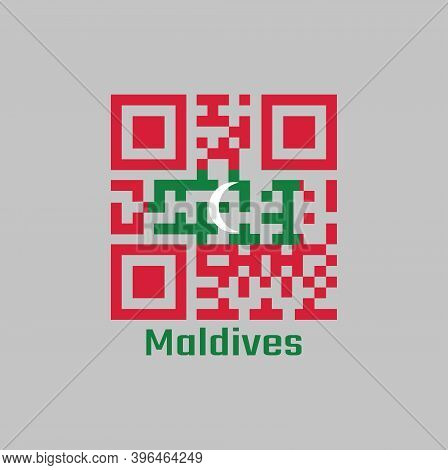 Qr Code Set The Color Of Maldives Flag. Green With Red Border And White Crescent On Center With Text