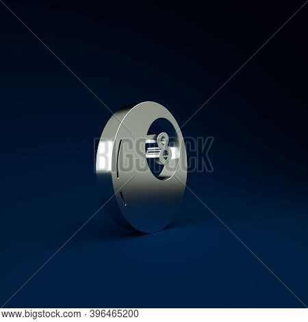Silver Magic Ball Of Predictions For Decision-making Icon Isolated On Blue Background. Crystal Ball.