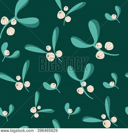 Christmas Or New Year Seamless Pattern Or Digital Paper - Winter Floral Ornament With Mistletoe, Fes