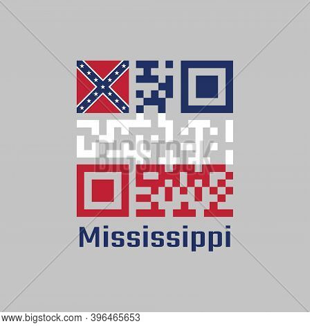 Qr Code Set The Color Of Mississippi Flag. Three Horizontal Stripes Of Blue White And Red. The Canto