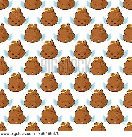 Angel Poop Emoji Seamless Pattern In Vector. Funny Background With Poo Character With Halo.