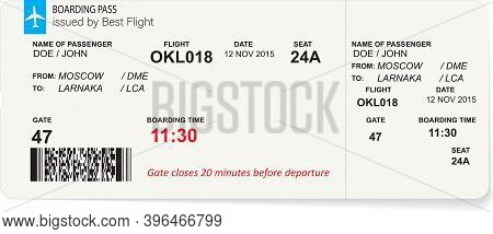 Variant Of Air Ticket Boarding Pass Isolated On White. Template Of Airline Ticket In Blue Color. Vec