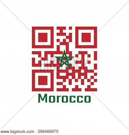 Qr Code Set The Color Of Morocco Flag. Red Field With A Black-bordered Green Pentagram With Text Mor