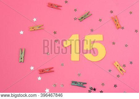 Number 15, 15 Birthday Celebration, 15 Years Anniversary, Pink Background