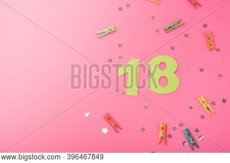 Number 18, 18 Birthday Celebration, 18 Years Anniversary, Pink Background