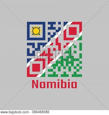 Qr Code Set The Color Of Namibia Flag. A White-edged Red Diagonal. The Upper Triangle Is Blue, With