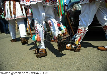Shallow Depth Of Field (selective Focus) Image With The Footwear Of The Romanian Traditional Dancers