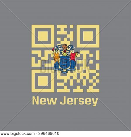 Qr Code Set The Color Of New Jersey Flag. The States Of America, The State Coat Of Arms On Buff Colo