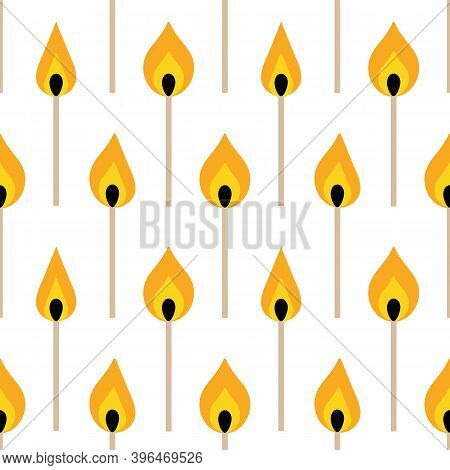 Igniting Matches On White Vector Seamless Pattern Background.