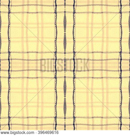 Yellow Square Plaid. Seamless Gingham Kilt. Scotland Picnic Fabric. Abstract Simple Flannel. Square
