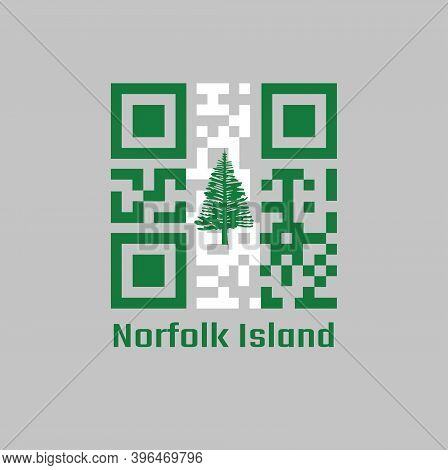 Qr Code Set The Color Of Norfolk Flag, Norfolk Island Pine In A Central White Stripe Between Two Gre