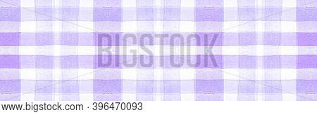 Purple Flannel Checks. Watercolour Square Border. Classic Gingham Tablecloth. Seamless Flannel Check