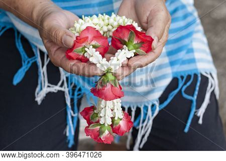 Garland That Is Used To Pay Homage To Mother Or Elders With Love And Respect On Thai Mother's Day Or