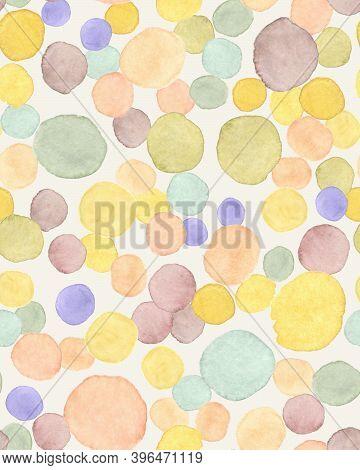 Children Wallpaper. Modern Holiday Splatter. Pastel Kid Print. Watercolour Drops Repeat. Polka Patte