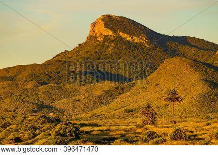 Mediterranean Sea Coast Landscape, Spanish Coastline In Murcia Region. Calblanque Regional Park. Tou