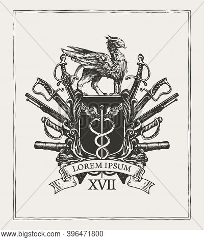 Vector Coat Of Arms In Vintage Style With A Caduceus On A Knightly Shield, Mythical Griffin, Sabres,