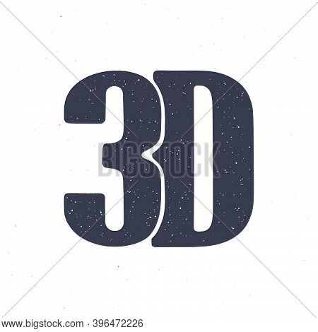 Silhouette Of Abbreviation 3d For Three-dimensional Film. Vector Illustration. Lettering Style Icon